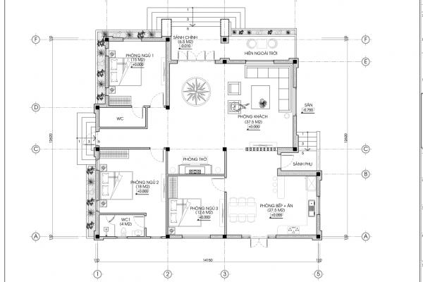 Mặt bằng biệt thự vườn 1 tầng BT18302