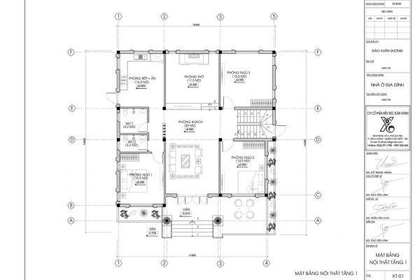 Mặt bằng biệt thự vườn 1 tầng mái thái đẹp BT18312