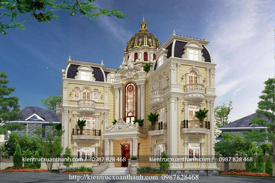 biệt thự 4 tầng phong cách cổ điển nguy nga tráng lệ BT40015 - Ảnh 1