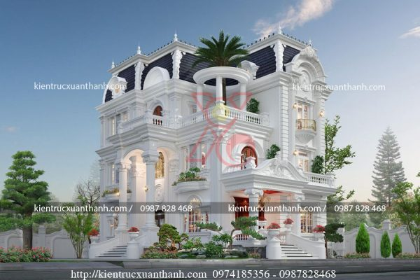 mẫu biệt thự 4 tầng tân cổ điển đẹp BT40010 - Ảnh 3